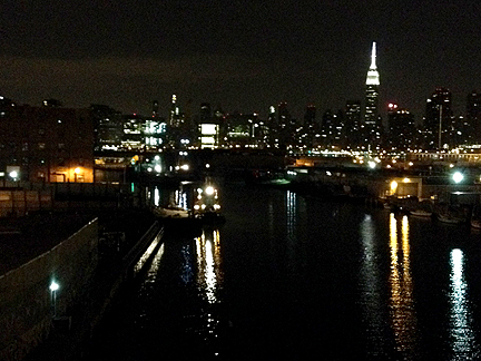 Over the Pulaski Bridge.